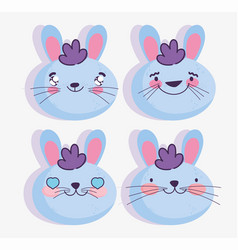 emojis kawaii cartoon faces rabbit emoticons vector image