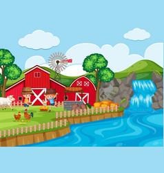 farm scene with waterfall vector image