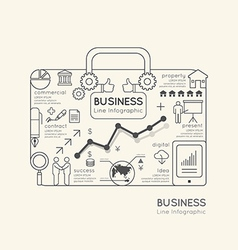 Flat linear Infographic World Business Bag vector image vector image