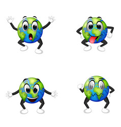 Four facial expressions on earth vector