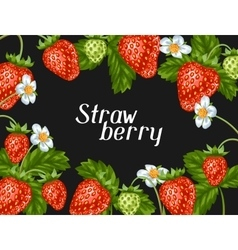 Frame with red strawberries Decorative berries vector