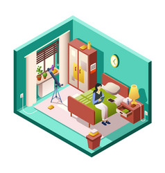 girl or woman bedroom of vector image