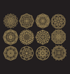 Golgen mandala set design asian arabian korean vector