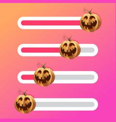 Halloween pumpkin on slider bar interface vector