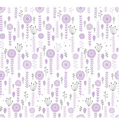 Hand drawn violet and gray floral pattern vector