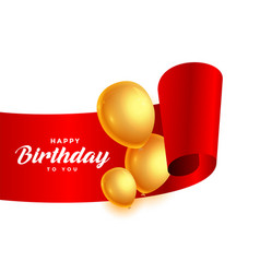 happy birthday ribbon with golden balloons vector image