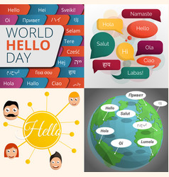 Hello day banner set cartoon style vector