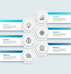 hexagon infographics 6 options vector image