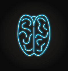 human brain icon in neon line style vector image