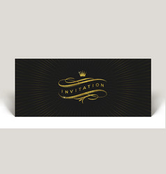 Invitation with glitter gold flourishes elements vector