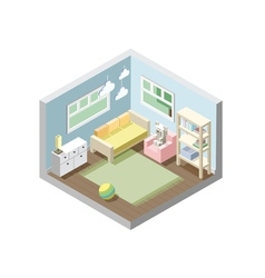 Isometric nursery kids room set of nursery vector