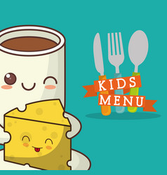 Kids menu cheese chocolate cuttlery vector