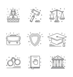 Law and justice icon flat and line vector