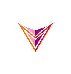 Letter v geometry colored logo vector