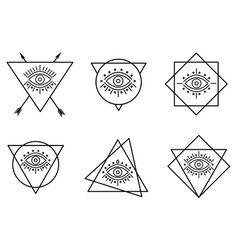 Line all seeing tattoo eyes in triangles vector