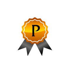 Logo quality letter p vector