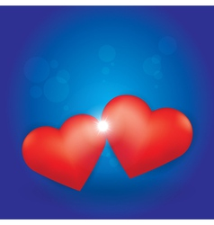 Love Burst between two Hearts vector image