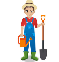 Male gardener holding watering can and shovel vector