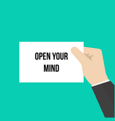 man showing paper open your mind vector image