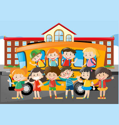 Many students riding on schoolbus to school vector