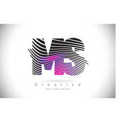 Ms m s zebra texture letter logo design with vector