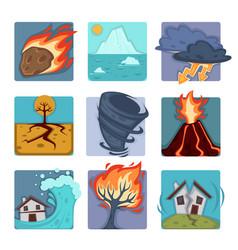 natural disasters flat icons set volcano vector image