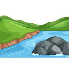 nature river landscape background vector image
