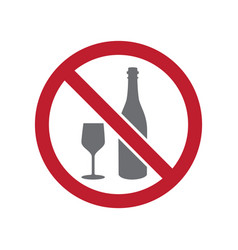 No alcohol allowed sign on white background for vector