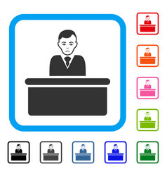 Office clerk framed dolor icon vector