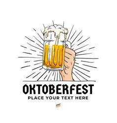 oktoberfest hand holding beer logo badge vintage vector image