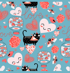 pattern cat lovers hearts vector image