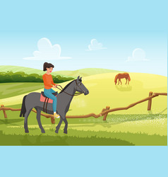 people ride horse in summer rural ranch landscape vector image