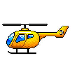 Pixel yellow helicopter detailed isolated vector