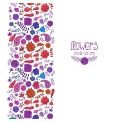 Postcard doodle flower pattern vector image