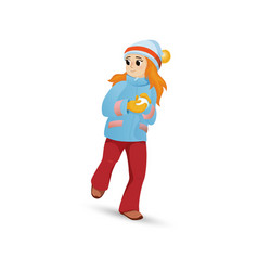 pretty girl in warm clothes making snowball vector image
