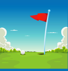 Putting green - golf ball and flag vector