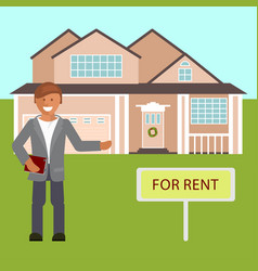 realtor with placard for rent vector image