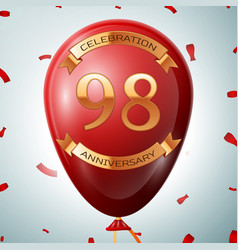 Red balloon with golden inscription 98 years vector