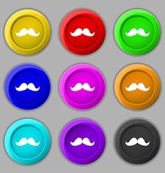 Retro moustache icon sign symbol on nine round vector