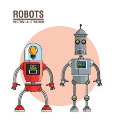 robots technology mechanical vintage vector image