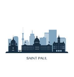 Saint paul skyline monochrome silhouette vector