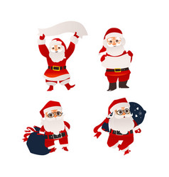 santa claus holding banner board and present bag vector image
