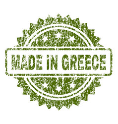 Scratched textured made in greece stamp seal vector