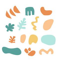 set abstract hand drawn summer shapes floral vector image