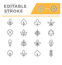 Set editable stroke line icons leaf vector