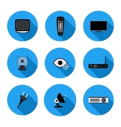 Set of flat icons TV vector
