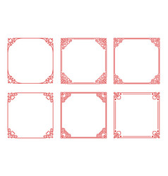Set of square red frames with hearts flourishes vector