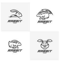 Set rabbit logo template modern head rabbit vector