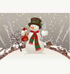 snowman with a red scarf and hat against the vector image