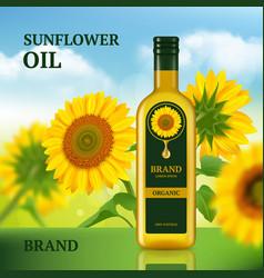 sunflower oil advertizing design template for vector image